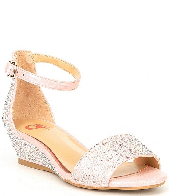 Color:Pink - Image 1 - Girls' Maxy-Girl Rhinestone Detail Ankle Strap Wedges (Youth)