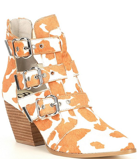 Color:Cream/Light Brown - Image 1 - Jam-Out Haircalf Cow Print Three Buckle Western Booties