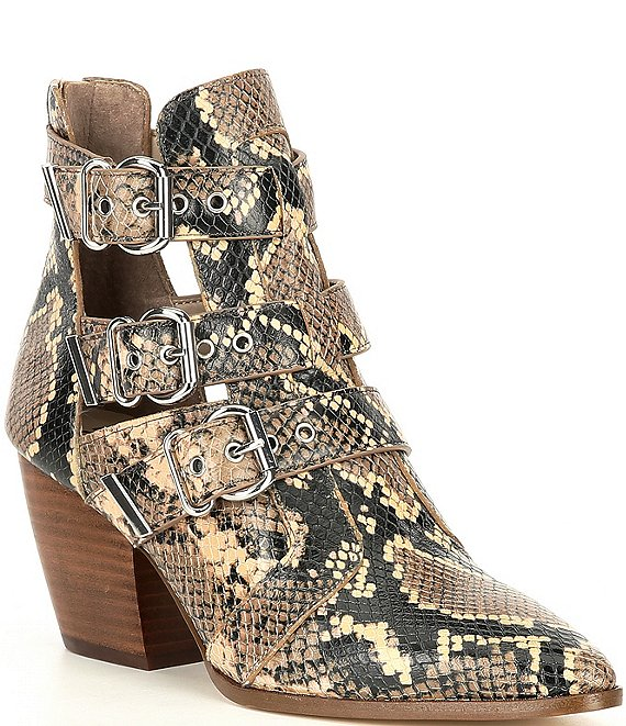 Color:Brown - Image 1 - Jam-Out Snake Print Three Buckle Western Booties