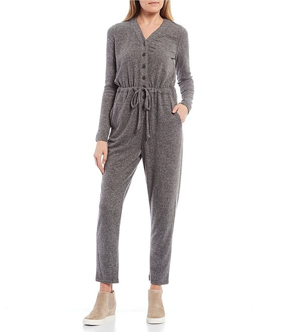 Color:Charcoal - Image 1 - Knit Long Sleeve Button Front Jumpsuit