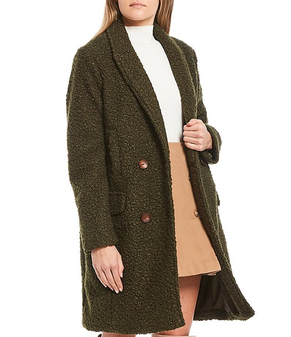 Color:Green - Image 1 - Long Sleeve Double Breasted Topper Coat