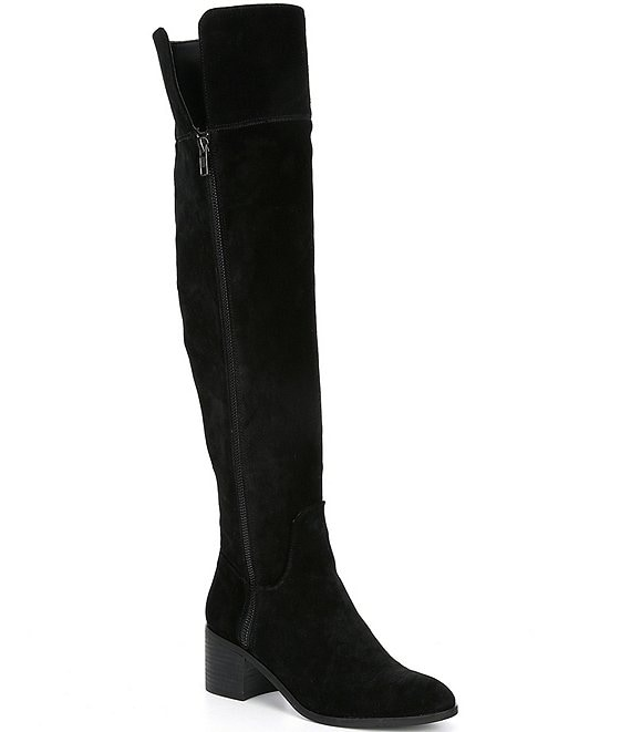 Color:Black - Image 1 - Look-Up Suede Over-the-Knee Block Heel Boots