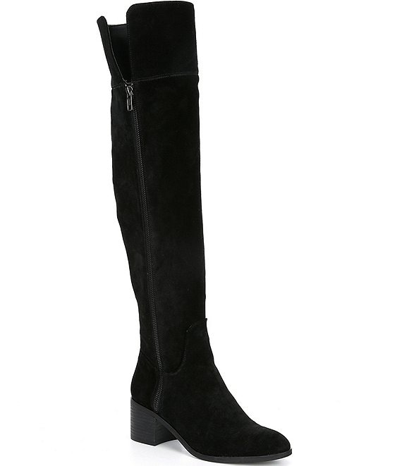Color:Black - Image 1 - Look-Up Suede Slim Calf Over-the-Knee Boots