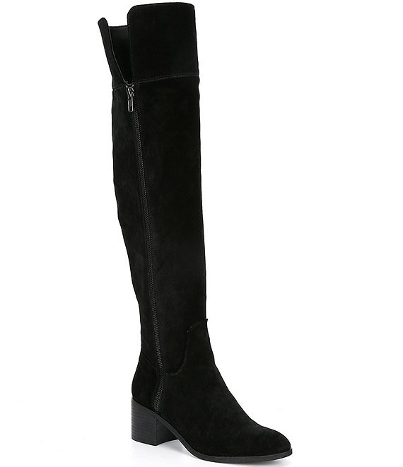 Color:Black - Image 1 - Look-Up Suede Wide Calf Over-the-Knee Boots