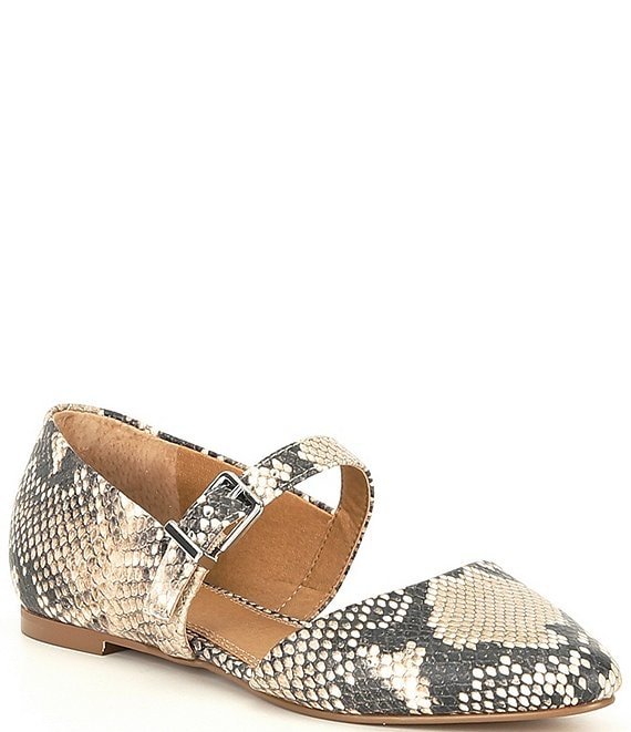 Color:Natural/Multi - Image 1 - Luv-2Know Snake Print Side Buckle Pointed Toe Flats