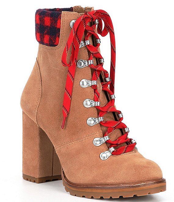Color:Mochachino - Image 1 - Mapped-Out Suede and Plaid Print Lace Up Lugged Hiker Booties