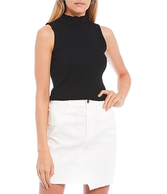 Color:Black - Image 1 - Mock Neck Sleeveless Ribbed Top