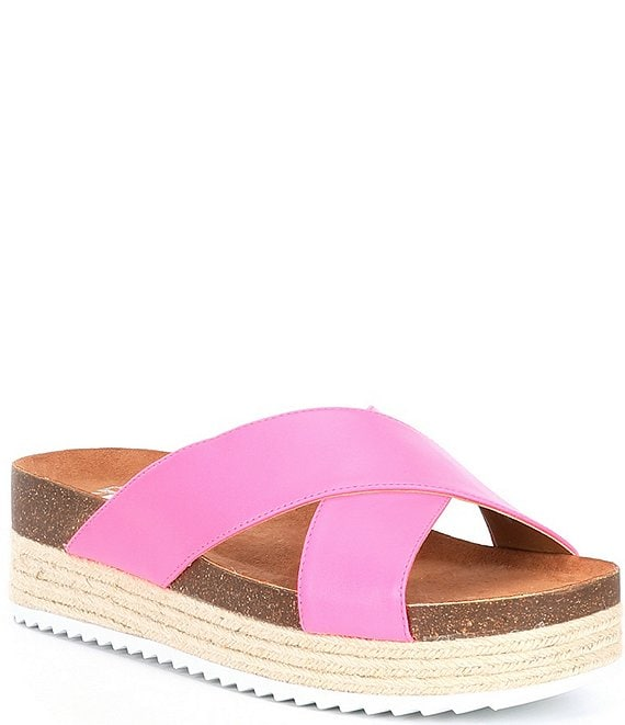 Color:Hot Pink - Image 1 - Nailed-It Cross Band Espadrille Platform Sandals