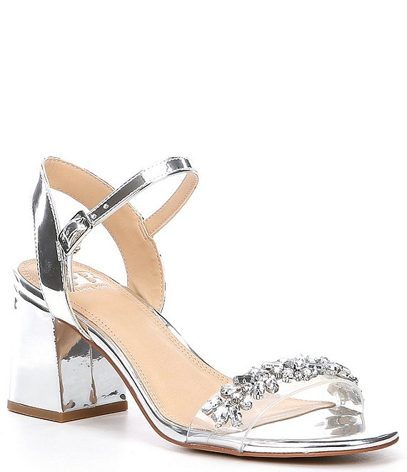Color:Silver - Image 1 - One-Dance Metallic Rhinestone Embellished Clear Strap Dress Sandals
