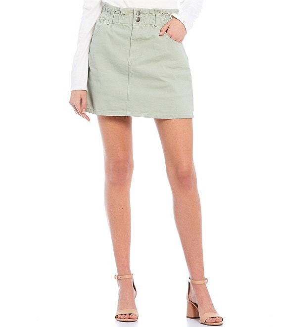 Color:Sage - Image 1 - Paperbag Waist Mini Skirt