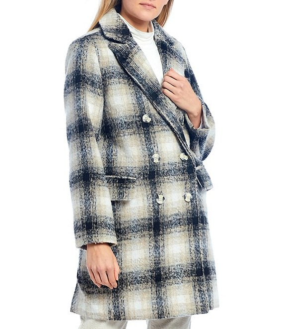 Color:Black - Image 1 - Plaid Double Breasted Topper Coat