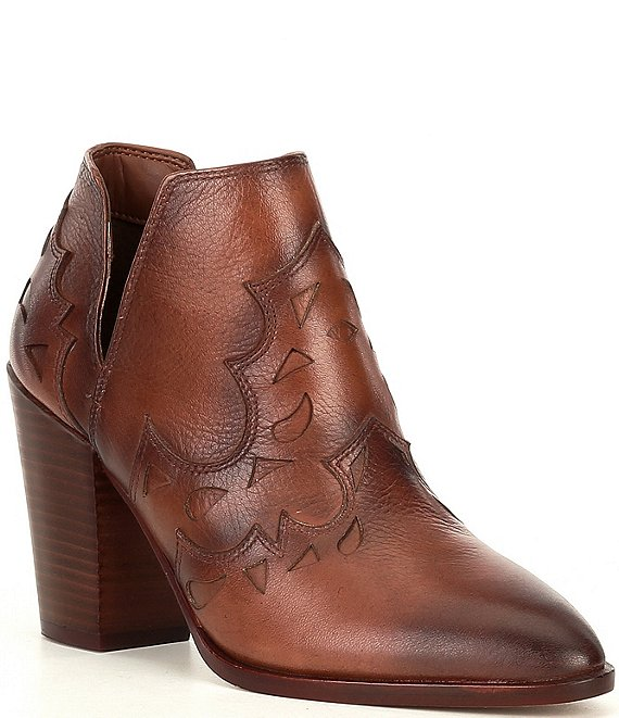Color:Bourbon - Image 1 - Risk-Taker Leather Cut-Out Block Heel Western Ankle Booties