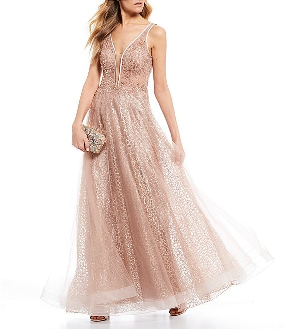 Color:Rose Gold - Image 1 - Social Beaded Bodice V-Neck Ball Gown