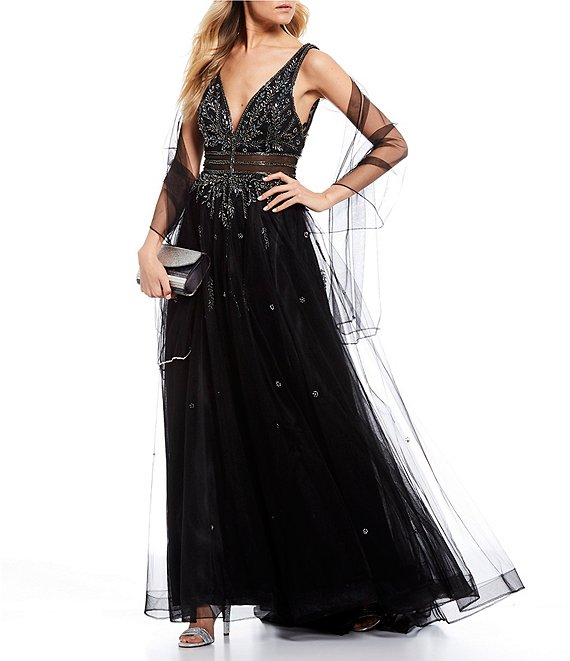 Color:Black - Image 1 - Social Jeweled Sheer Inset Ballgown