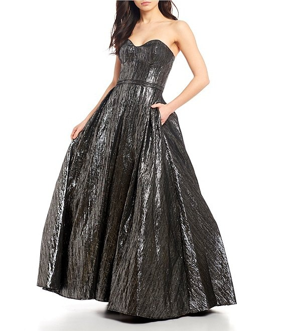 Color:Black/Silver - Image 1 - Social Metallic Ball Gown