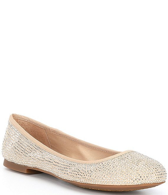 Color:Sand Gold - Image 1 - Star-Brite Microfiber Rhinestone Detail Ballet Flats