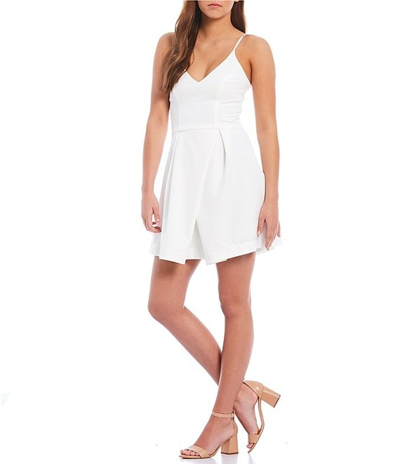 Color:White - Image 1 - V-Neck Swing Dress