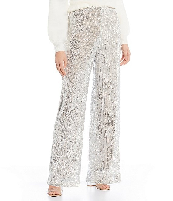 Color:Silver - Image 1 - Wide Leg Sequin Pants