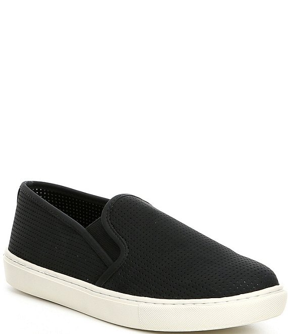 Color:Black - Image 1 - You-Win Perforated Slip On Sneakers
