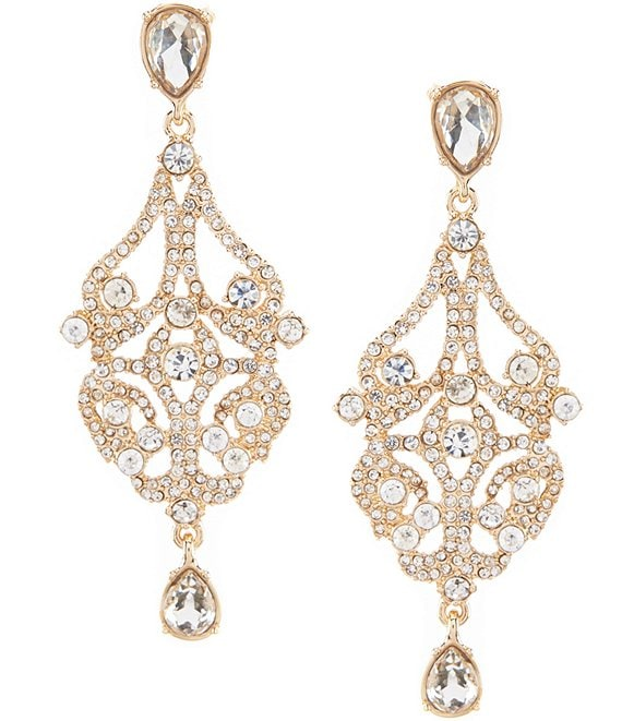 Color:Gold/Crystal - Image 1 - Openwork Statement Drop Earrings