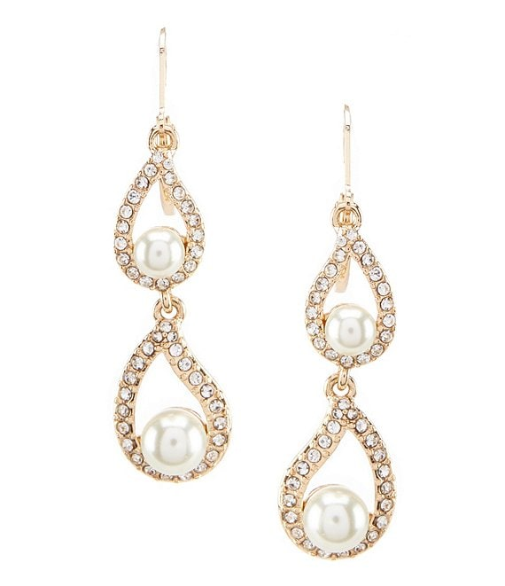 Color:Gold/Pearl/Crystal - Image 1 - Pavé & Faux-Pearl Double-Drop Earrings
