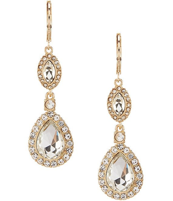 Color:Gold - Image 1 - Pave Elegant Drop Earrings