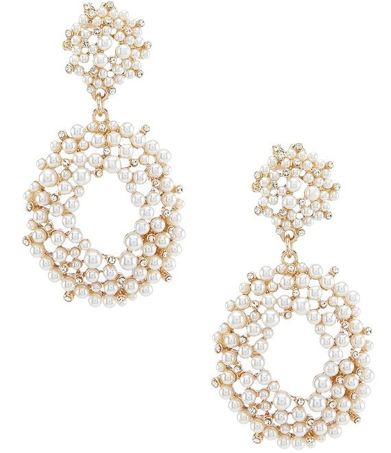 Color:Gold - Image 1 - Pave Pearl Drop Earrings