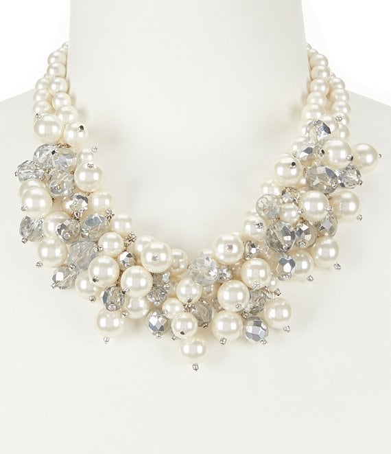Gemma Layne Pearl Cluster Frontal Statement Necklace