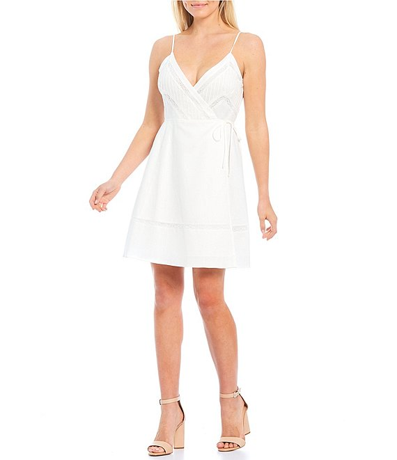 Color:Ivory - Image 1 - V-Neck Sleeveless Wrap Dress