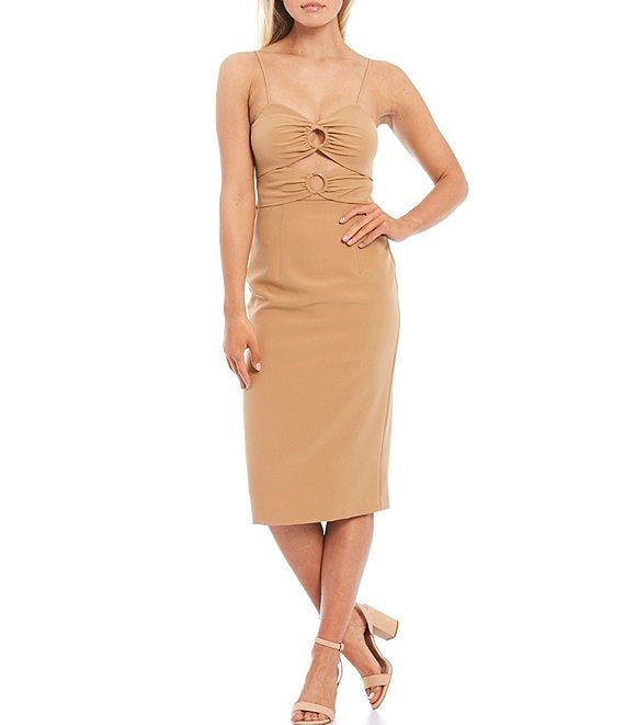 Color:Nude - Image 1 - Abby V-Neck Spaghetti Strap Cutout Dress