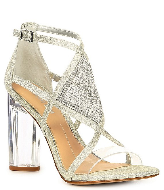 Color:Silver - Image 1 - Aliva Metallic Jewel Embellished Lucite-Heel Dress Sandals