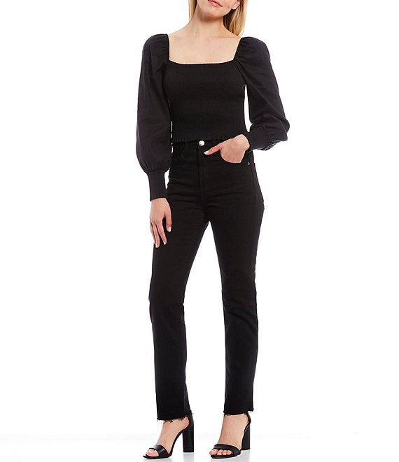 Color:Black - Image 3 - Gianni Bini Angel Square Neck Long Sleeve Smocked Blouse