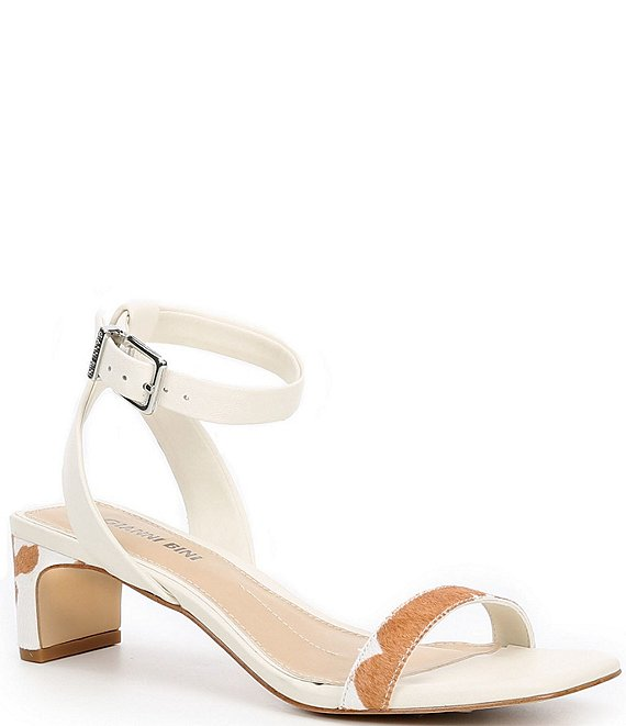 Color:Cream/Light Brown - Image 1 - Anikaa Cow Print Square Toe Low Block Heel Sandals