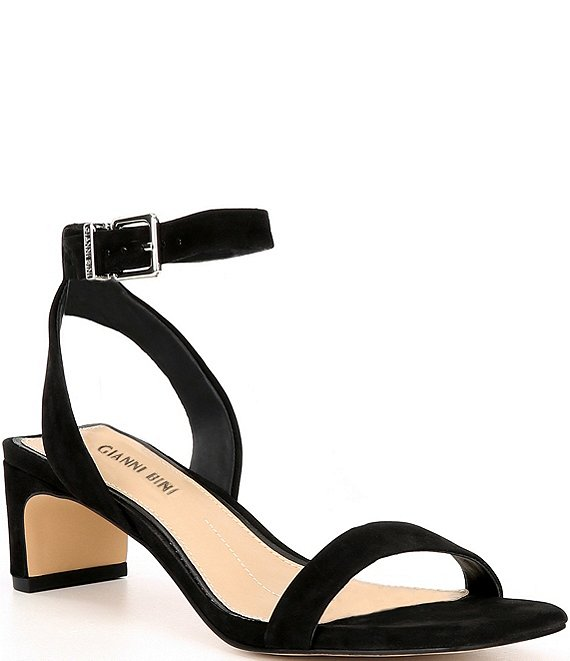 Color:Black - Image 1 - Anikaa Square Toe Low Block Heel Sandals
