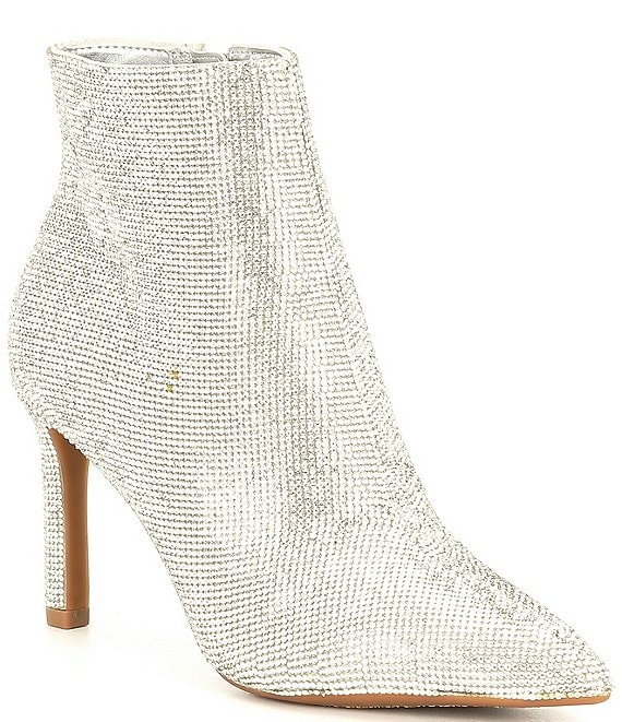 Color:Silver - Image 1 - Annina Rhinestone Embellished Dress Booties