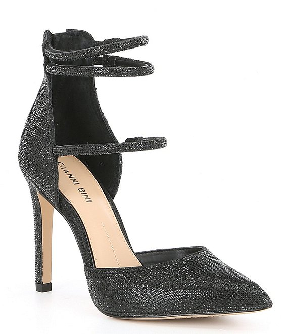 Color:Black - Image 1 - Anyssah Strappy Jeweled Pumps