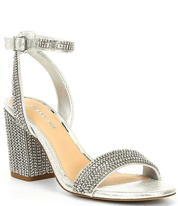 Color:Silver - Image 1 - ArleenaTwo Bling Rhinestone Embellished Block Heel Sandals