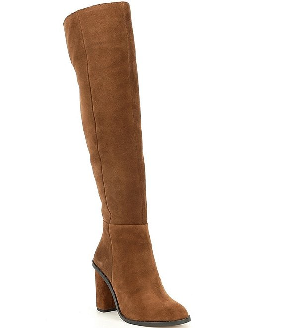 Color:Graham Cracker - Image 1 - Barrine Suede Slim Calf Over-the-Knee Boots