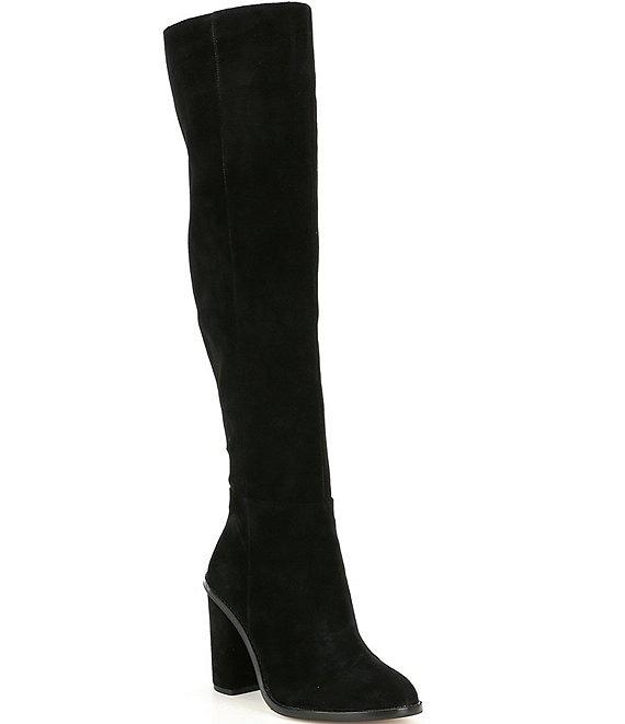 7e657fc00970 Gianni Bini Barrine Suede Wide Calf Over the Knee Block Heel Boots ...