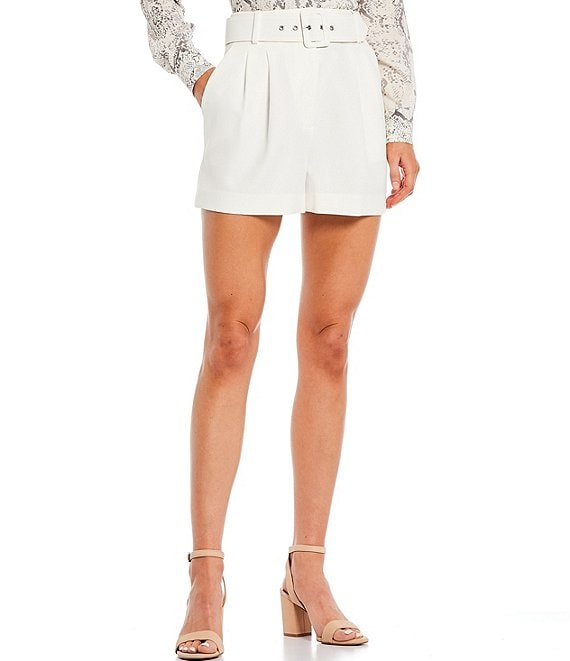 Color:Ivory - Image 1 - Bella High Rise Suiting Belted Short