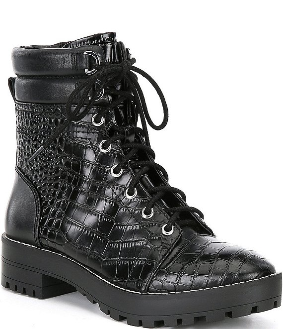 Color:Black - Image 1 - Besteen Croc-Embossed Combat Lug Sole Boots