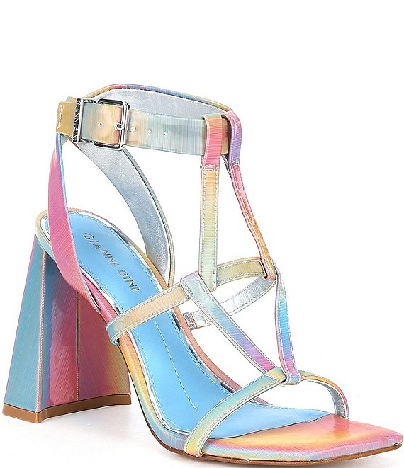 Color:Rainbow - Image 1 - Bexxlie Rainbow Strappy Square Toe Dress Sandals