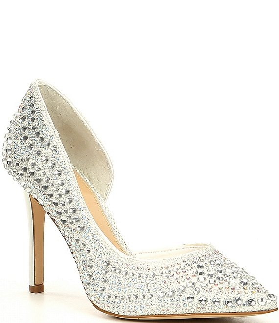 Color:Frosted White - Image 1 - Bridal Collection Mairah Jewel Embellished d'Orsay Stiletto Pumps