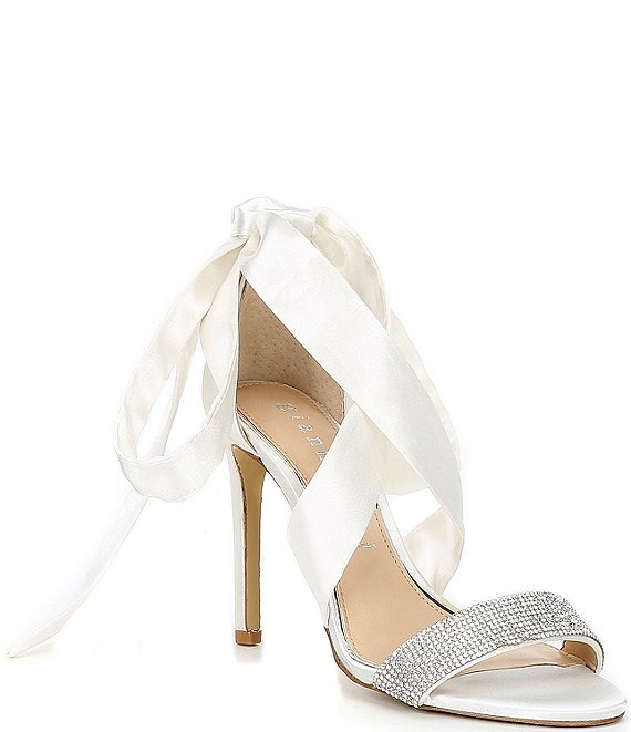 Color:White - Image 1 - Bridal Collection Sonnalie Rhinestone Embellished Satin Wrap Dress Sandals