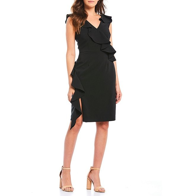 Color:Black - Image 1 - Brittany Ruffle V-Neck Sheath Dress