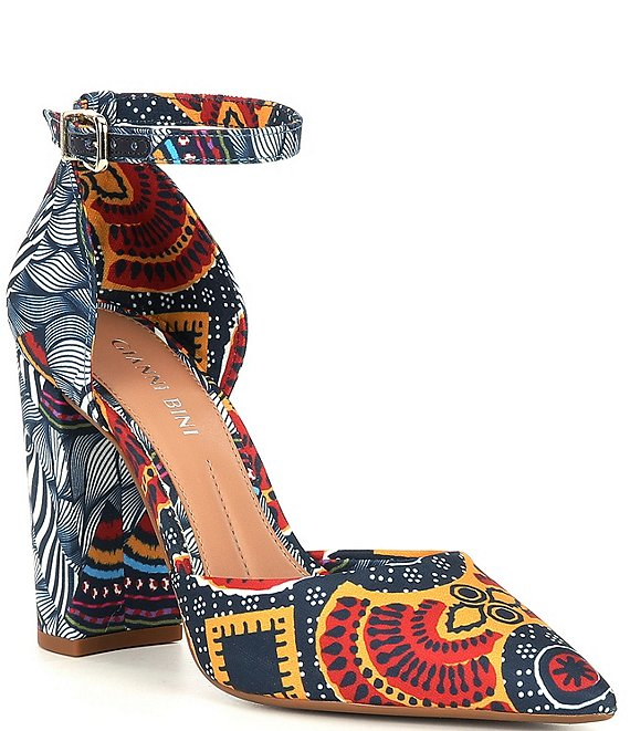 Color:Red/Multi - Image 1 - Bronlynn Tribal Print Ankle Strap Pumps