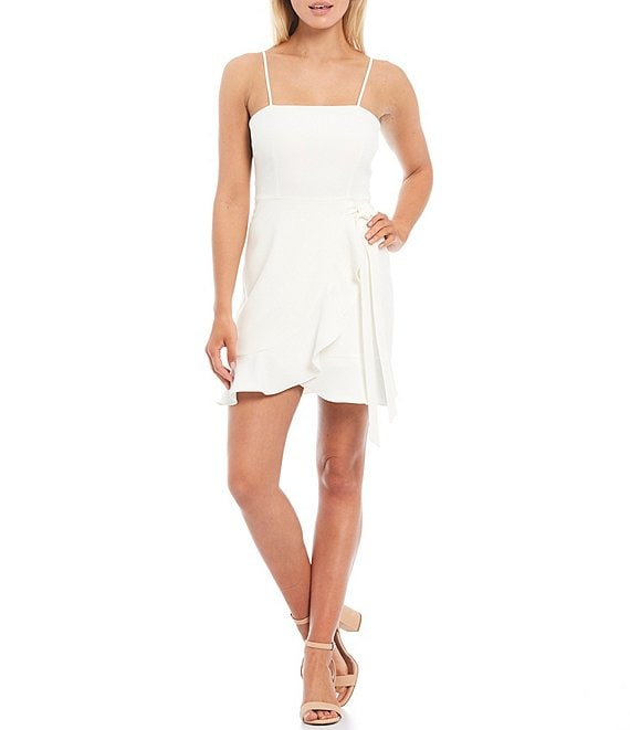 Color:Ivory - Image 1 - Cam Square Neck Sleeveless Tie Waist Crepe Mini Dress