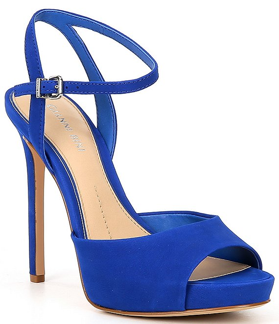 Color:Electric Blue - Image 1 - Camwren Suede Platform Sandals