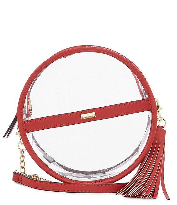 Color:Red - Image 1 - Clear Circle Stadium Crossbody Bag