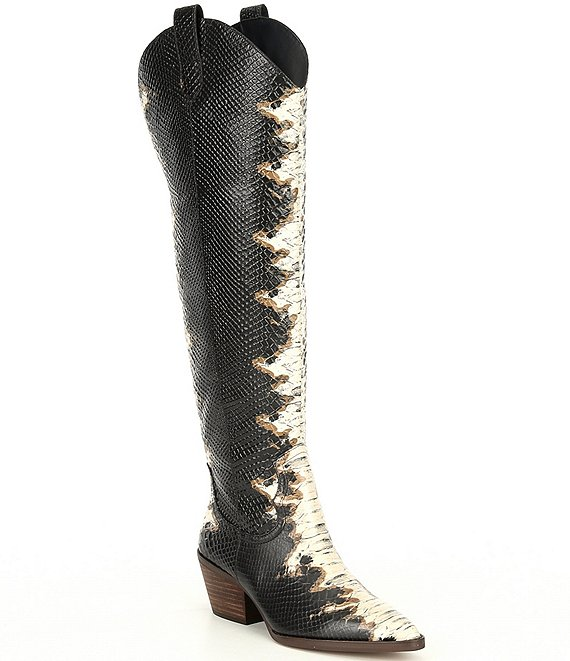 Color:Brown/Black Combo - Image 1 - Colbbiye Snake Print Leather Western Tall Boots